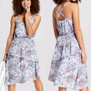 A New Day light blue floral tiered ruffle dress